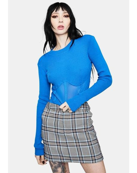Cerulean High Fashion Mesh Underbust Top