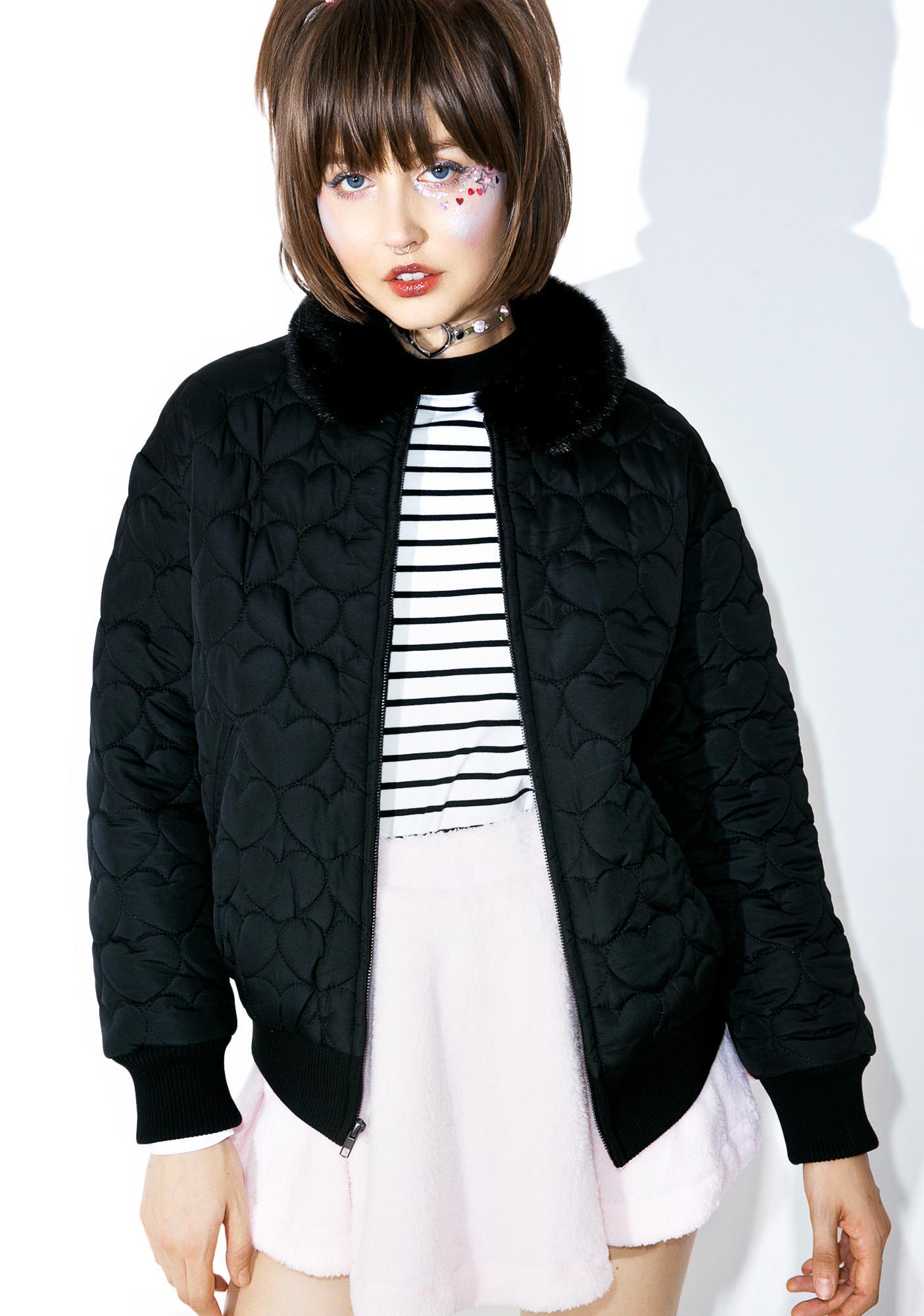 Lazy Oaf Black Heart Bomber Jacket