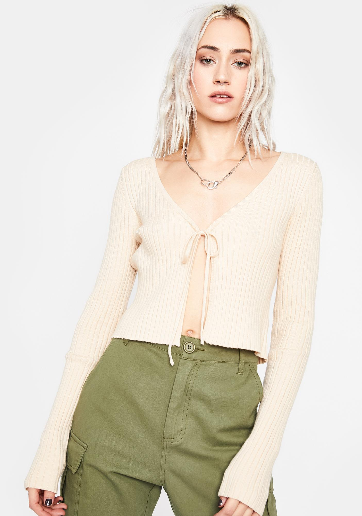 Cream Gimme Gimme Tie Sweater