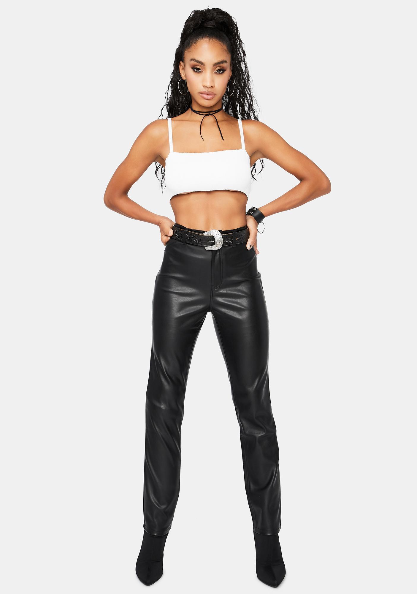 Free People Rebel At Heart Vegan Leather Slim Pants