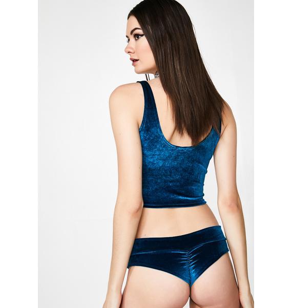 Sugarpuss Teal Plush Low Rise Velvet Shorts
