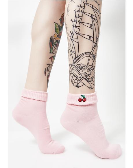 Pink Cherry Socks