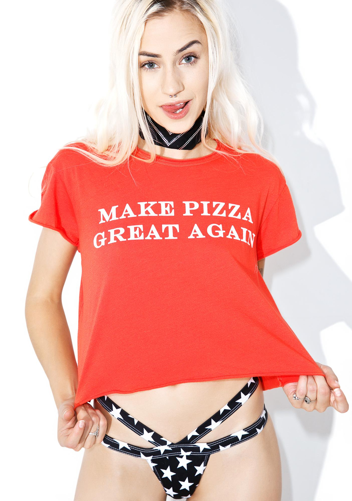 The Laundry Room Great Pizza Crop Rolling Tee