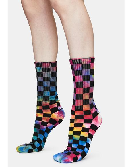 Your Move Checkered Crew Socks
