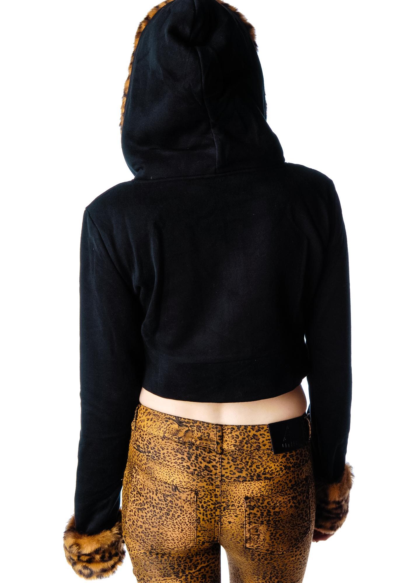 1cea715c433 Feline Faux Fur Cropped Hooded Jacket | Dolls Kill
