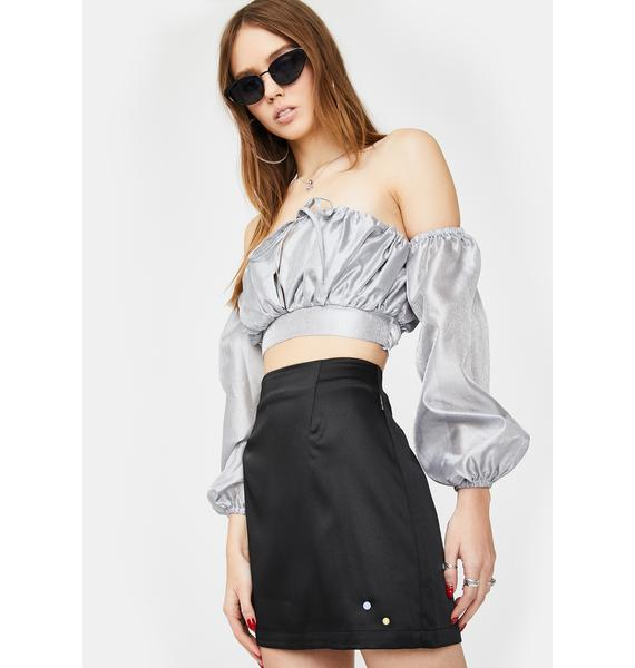 ZEMETA Double Rhinestone Silky Skirt