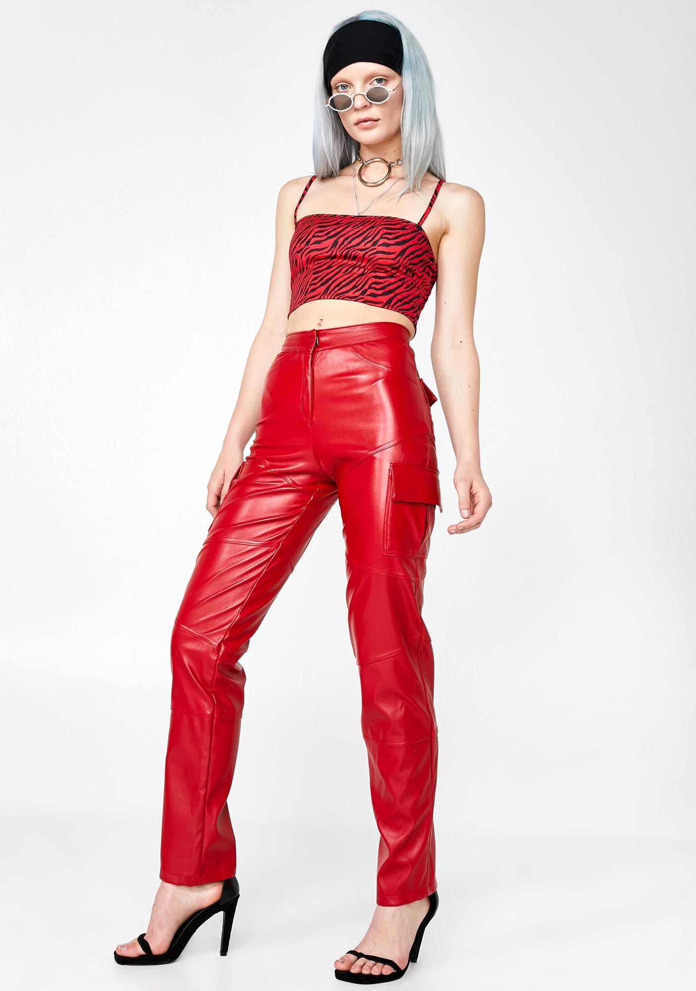 Plugged NYC Slit Leather Cargo Pants