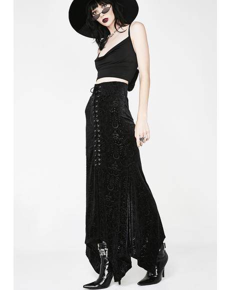 Genesis Burnout Velvet Maxi Skirt