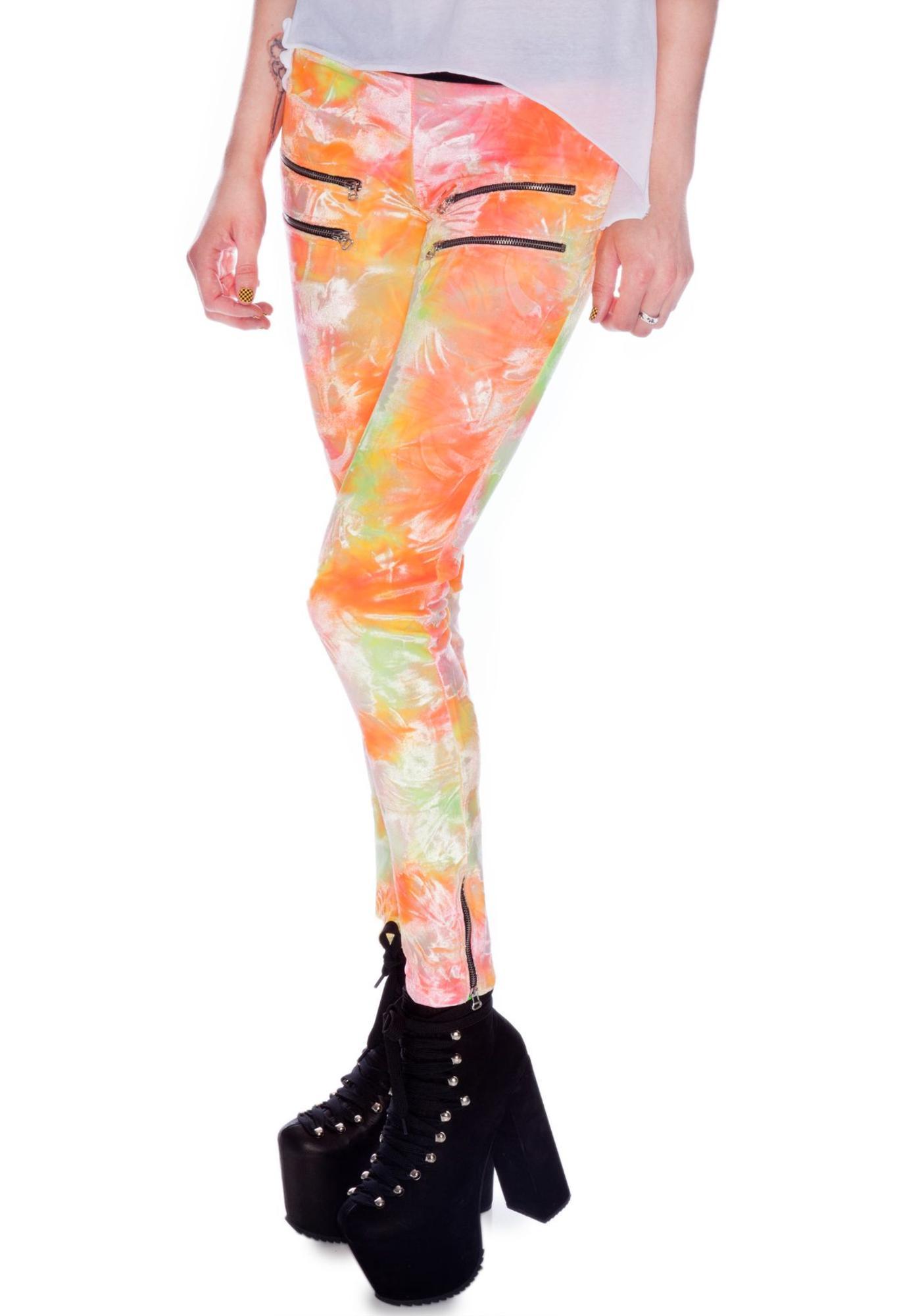Sunset Metal Zipper Velvet Leggings
