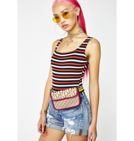 Crimson Got It Like Dat Striped Bodysuit