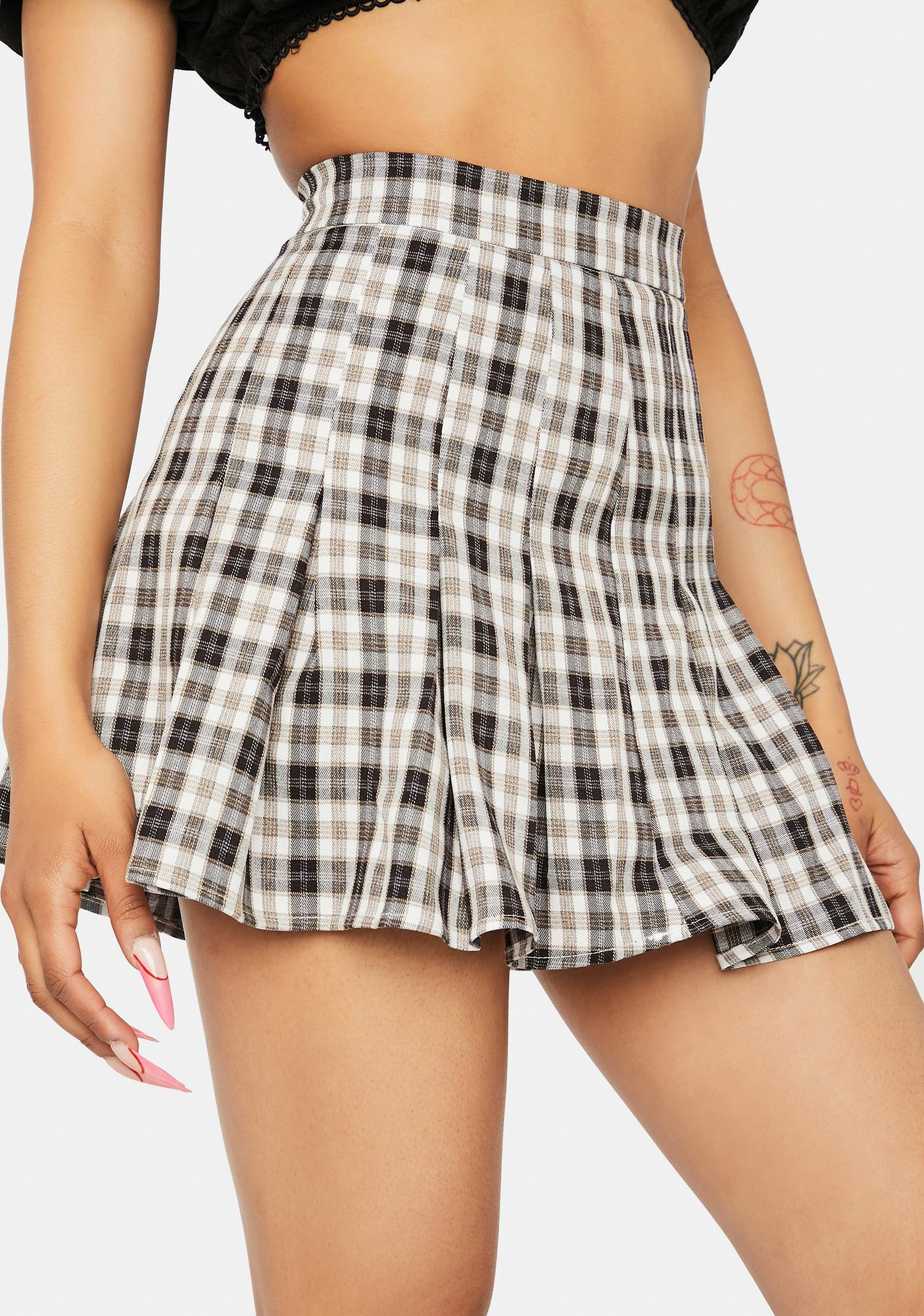 Night Rock Your World Plaid Pleated Skirt