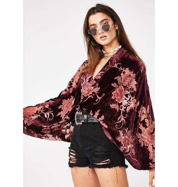 Wine Desert Call Floral Kimono