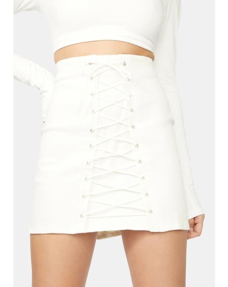 Sun Don't Rise Lace Up Mini Skirt