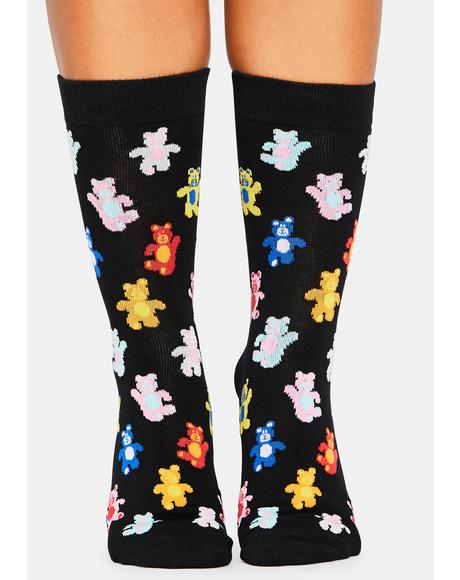 Beary Happy Crew Socks