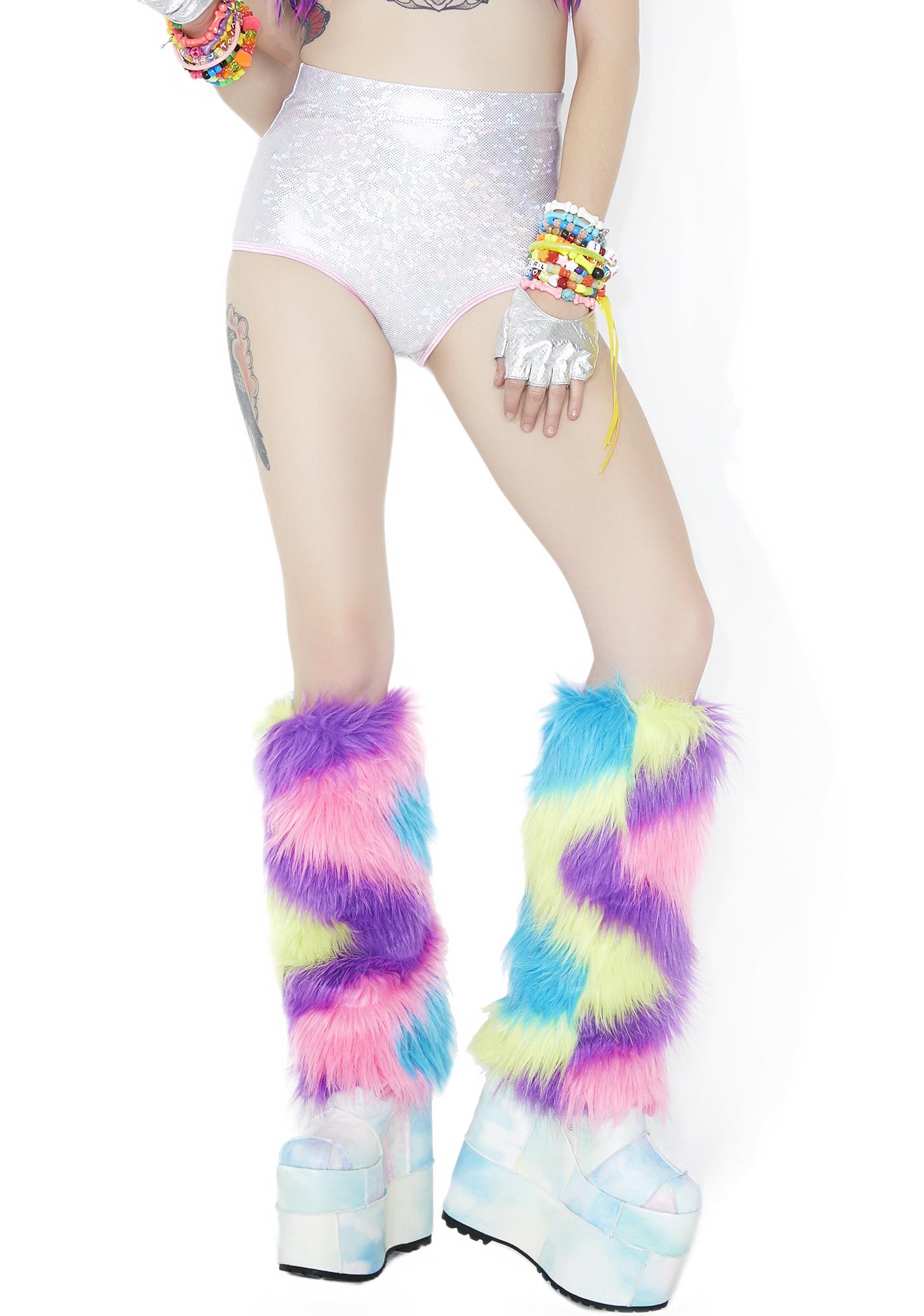 Rave Rainbow Fluffy Leg Warmers