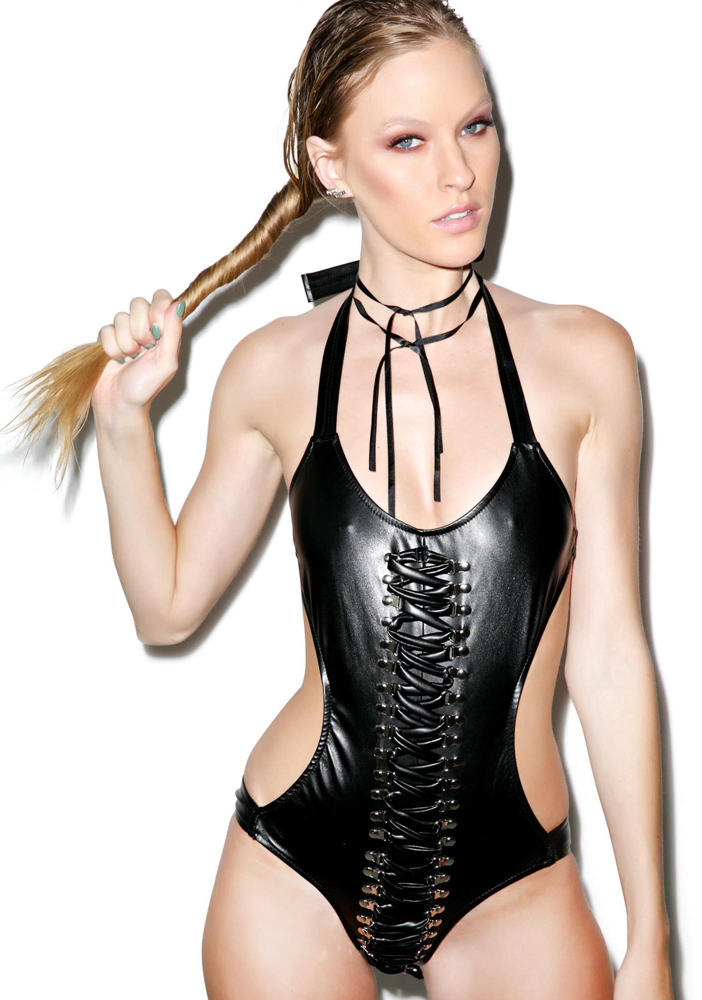 J Valentine Lusty Lace Up Leather One Piece