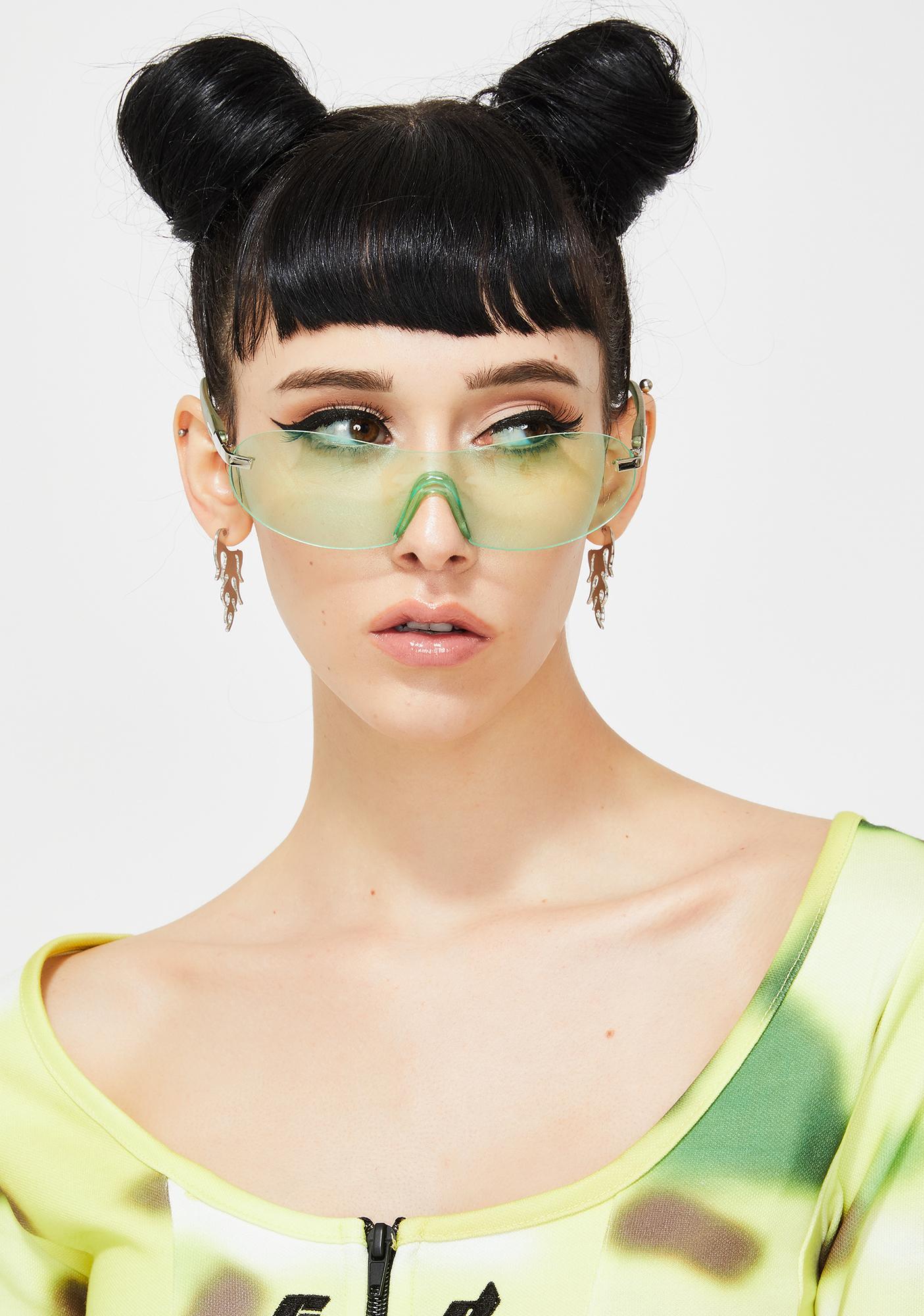Good Times Eyewear Green 2000s Shield Sunglasses