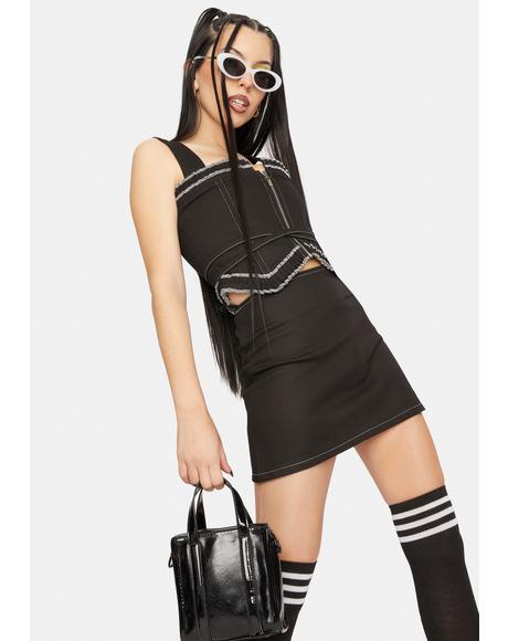 Black Tie Denim Skirt