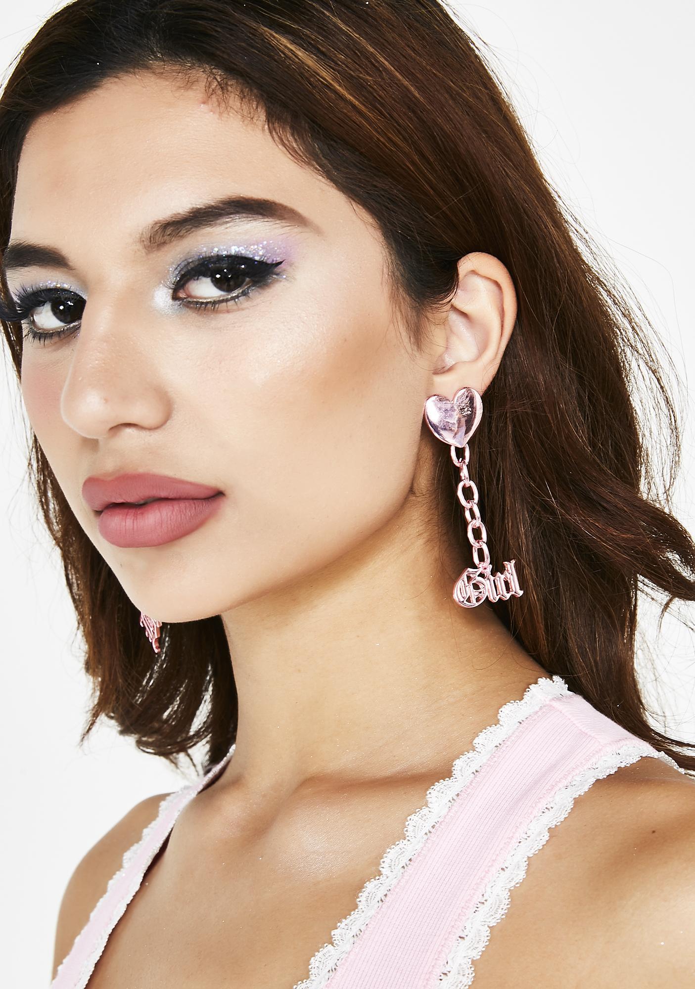 Sweet Bby Grl Chain Earrings