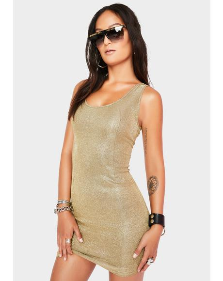 Champagne Glitter Mini Dress