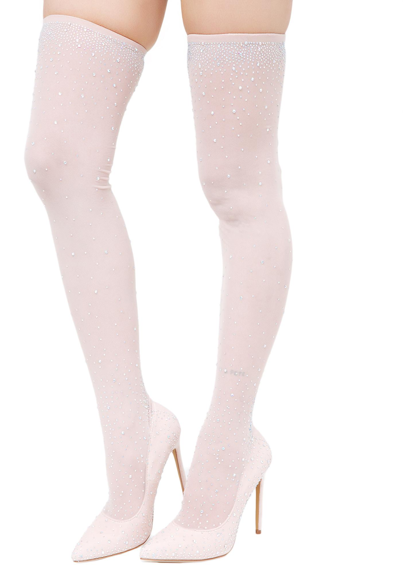 988bfe0c21d1f Thigh High Glitter Stocking Heels | Dolls Kill