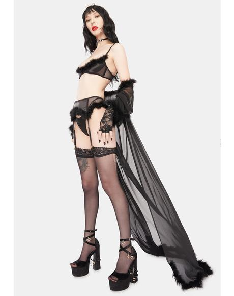 5 Minutes To Midnight Marabou Lingerie Set