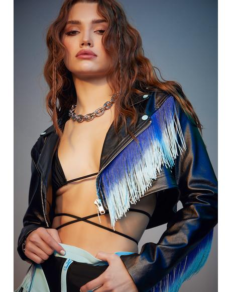Royal Bite The Dust Fringe Moto Jacket