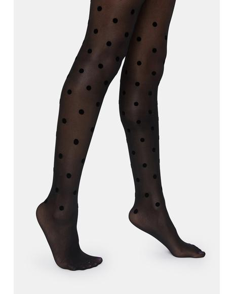 Dot Flocked Sheer Tights