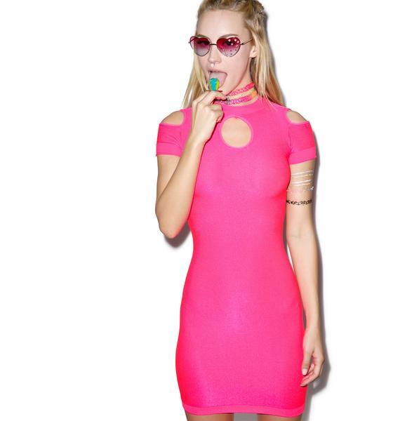 Neon Lipstick Babe Bodycon Dress