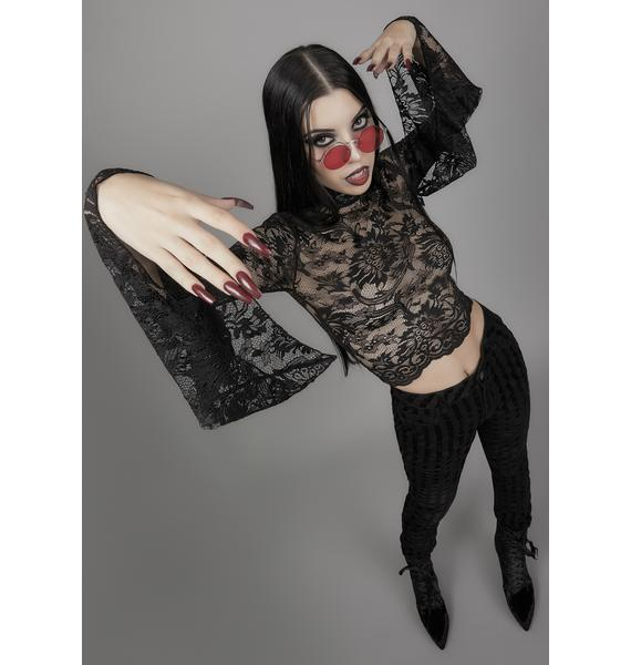 Widow Grave Importance Lace Crop Top