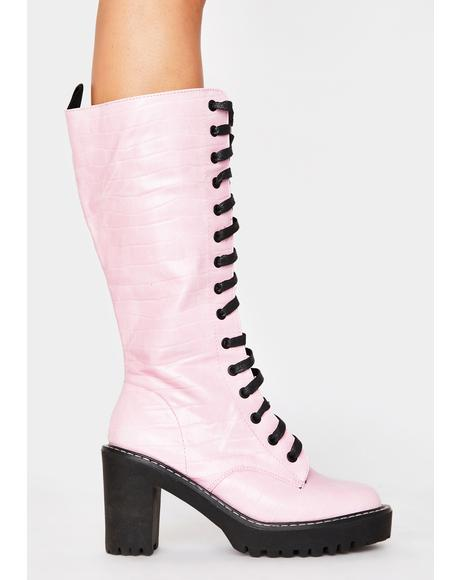 Pink Aneko Lace Up Boots