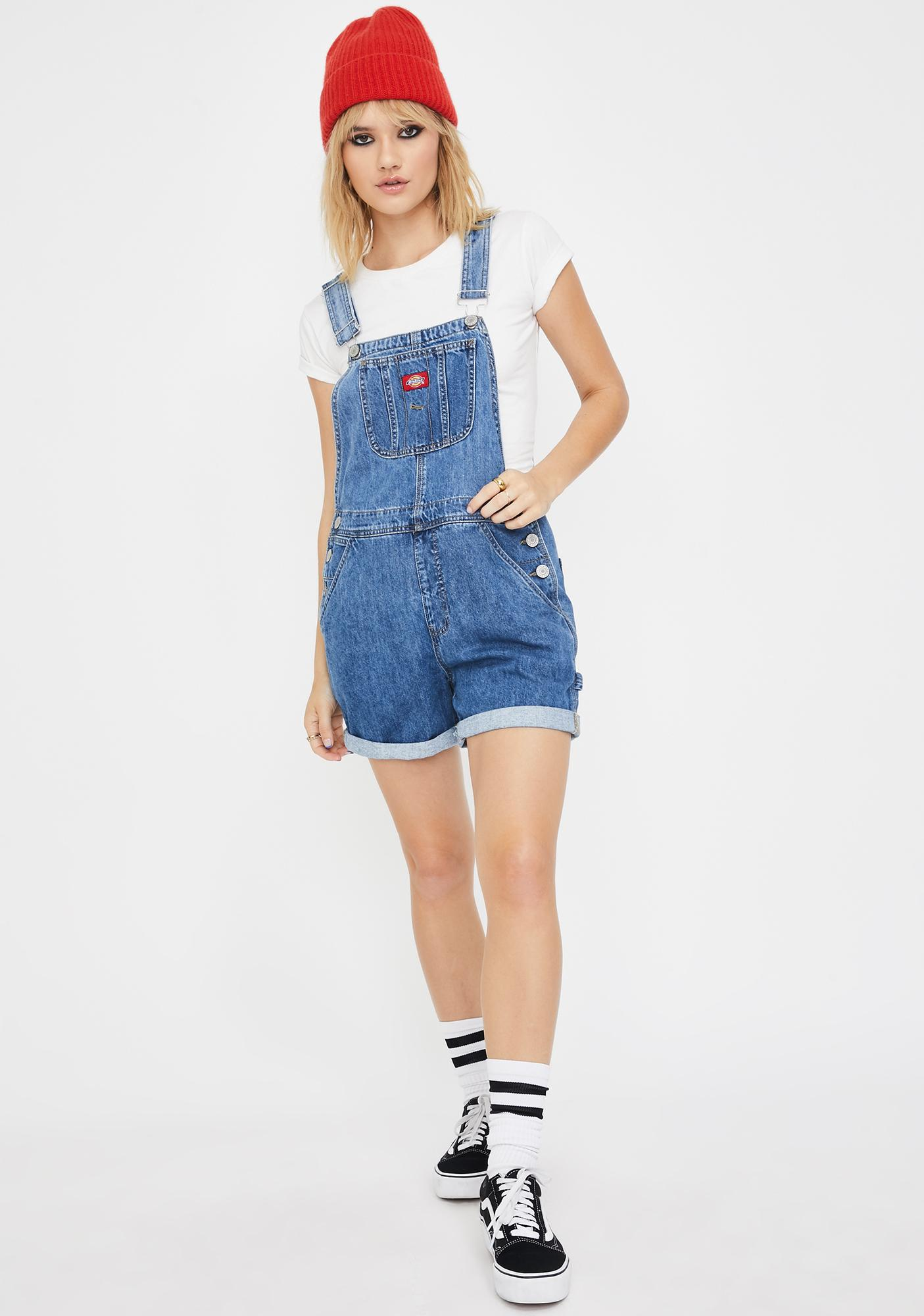 Dickies Girl Medium Wash Roll Hem Shortalls