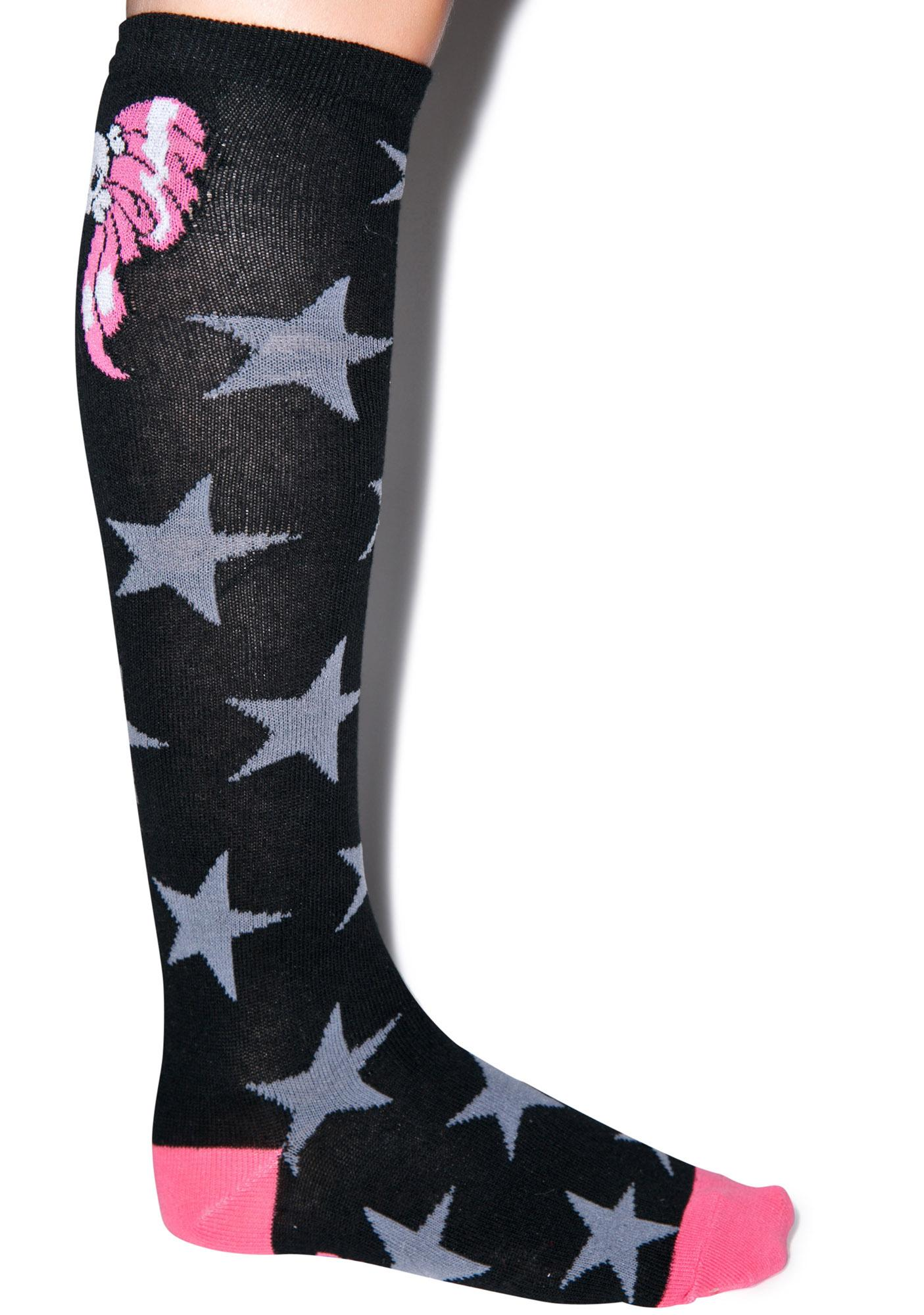 Kreepsville 666 Skully Bow Stars Socks