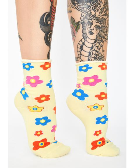 Groovy Floral Morals Crew Socks
