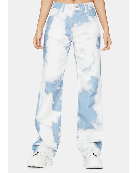 Cloud Print Boyfriend Fit Jeans