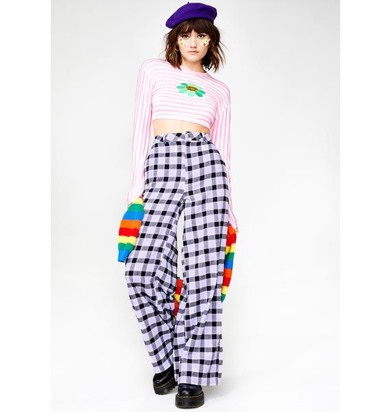Daisy Street Check Wide Wide Leg Trousers