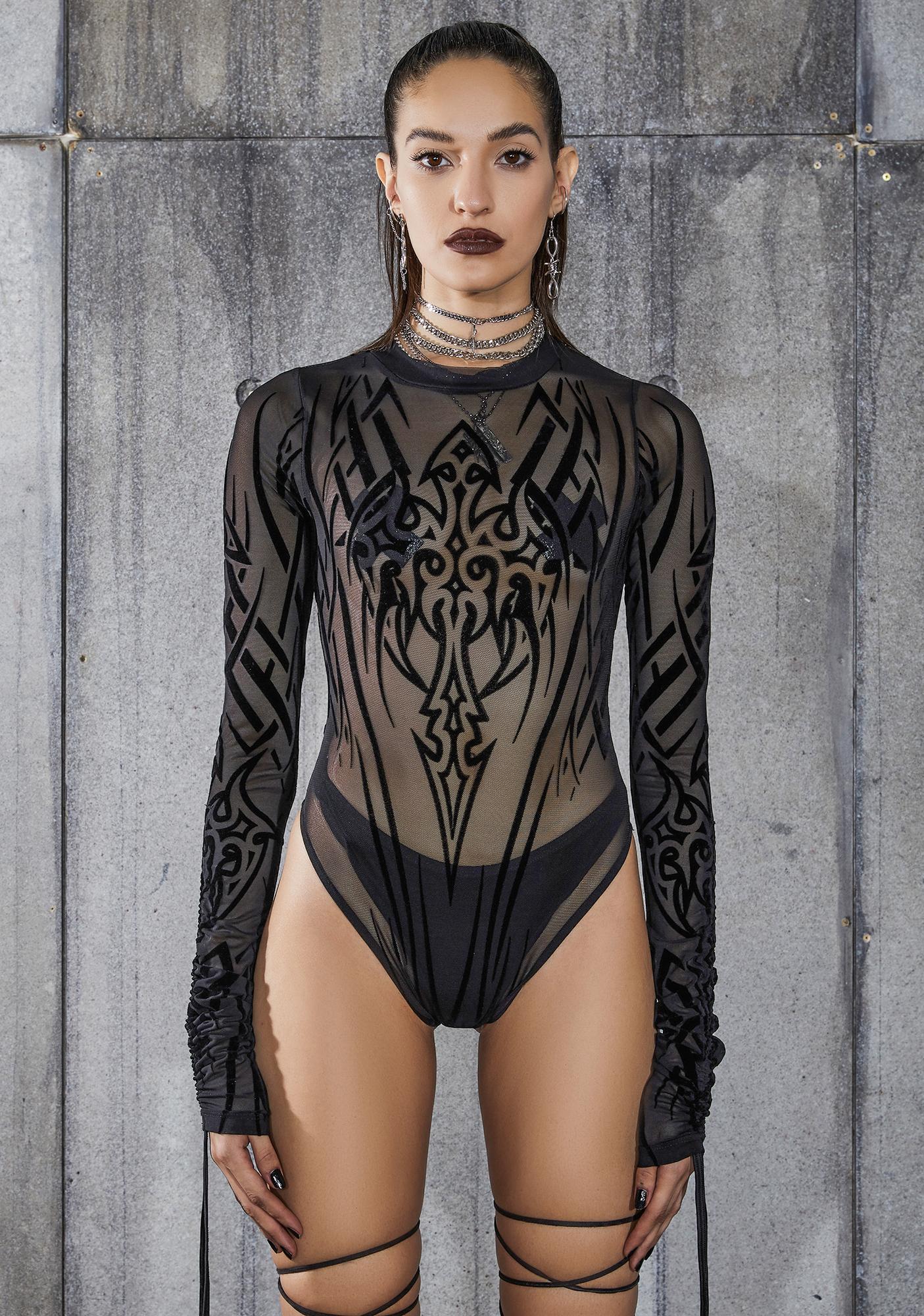 DARKER WAVS Snare Tattoo Print Mesh Bodysuit