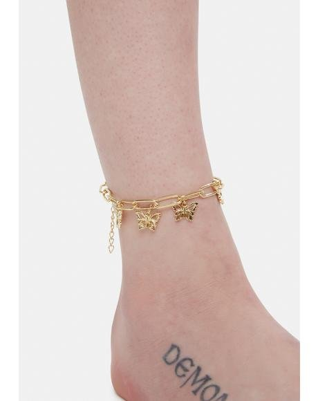 Goldie Shine On Butterfly Charm Anklet