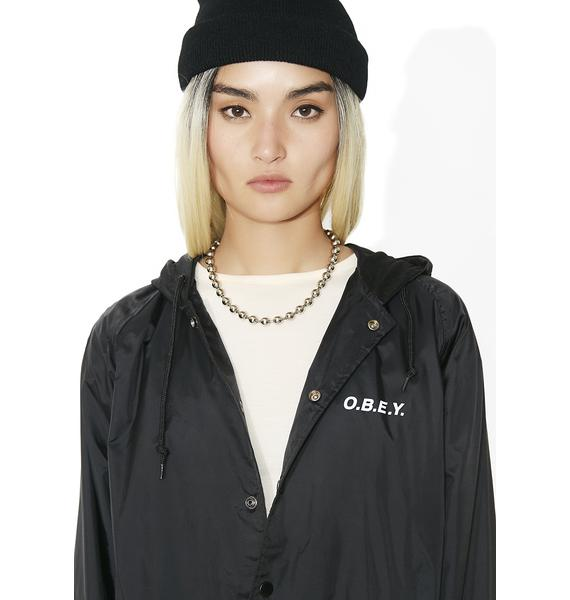 Obey Defiant Rose Snap Hooded Coaches Jacket