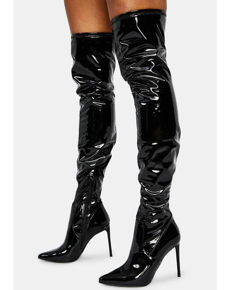 Patent Viktory Knee High Boots