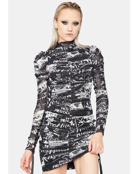Put It In Writing Graphic Mini Dress
