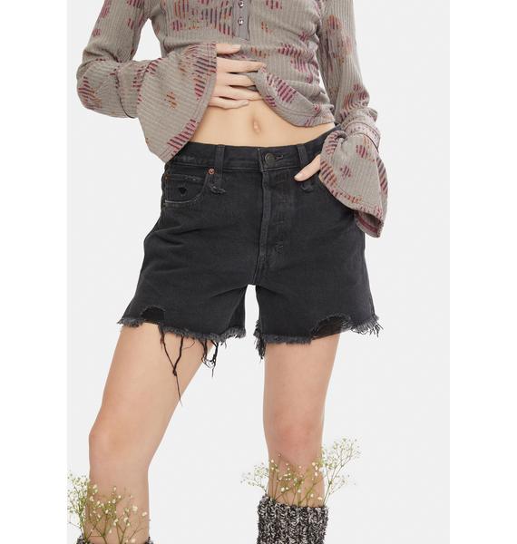 Free People Washed Black Makai Cut Off Shorts