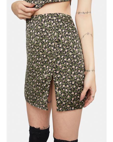 Black Floral Print Mini Skirt