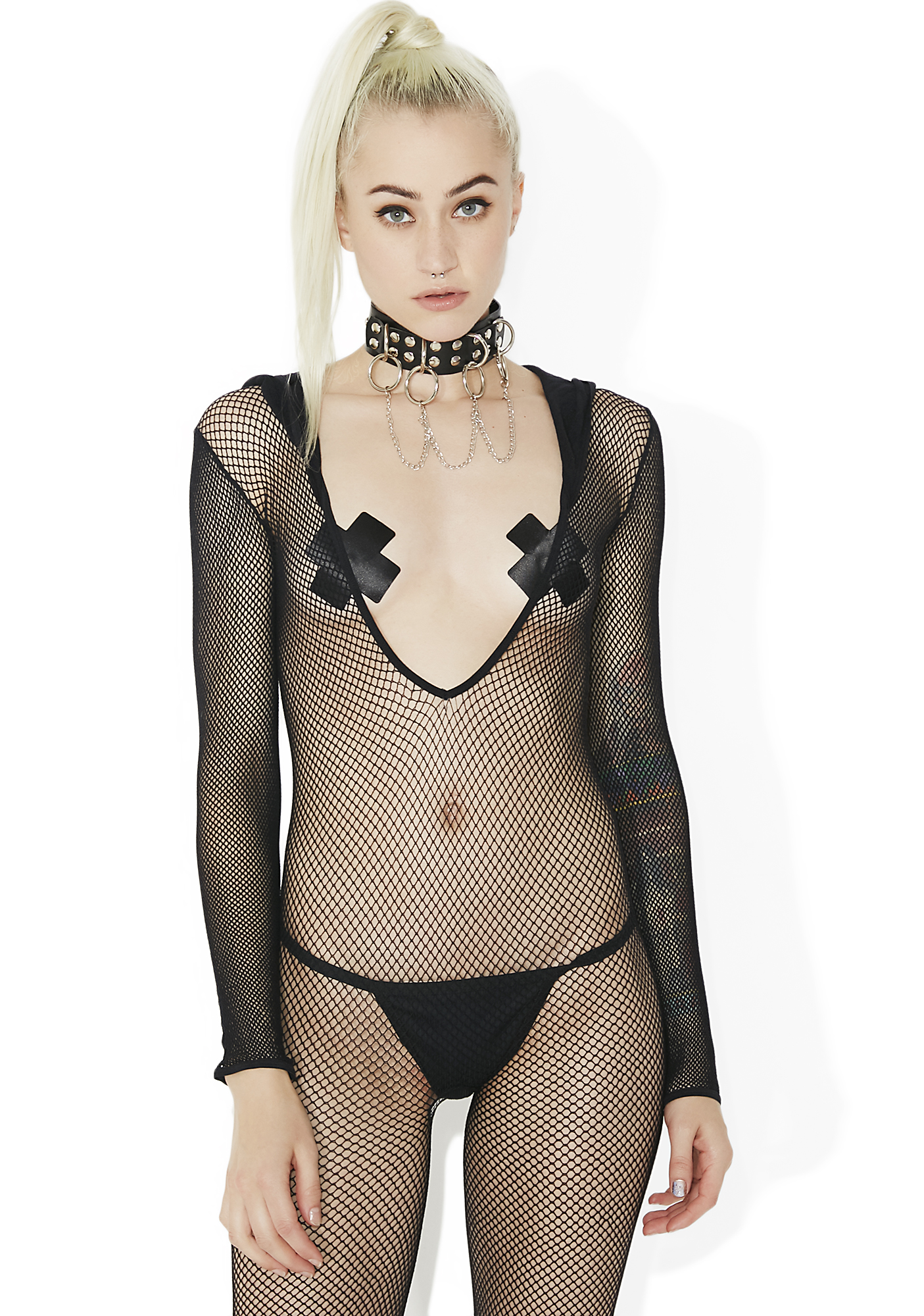 Hooded Footless Sheer Fishnet Bodystocking Black