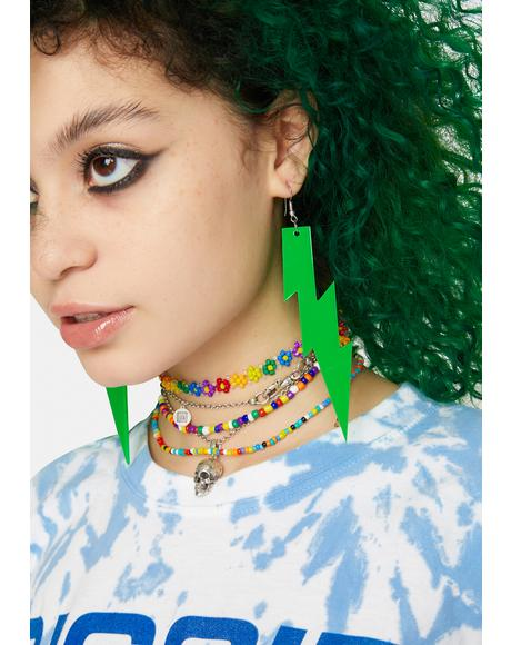 Lime Feel The Electricity Lightning Bolt Earrings