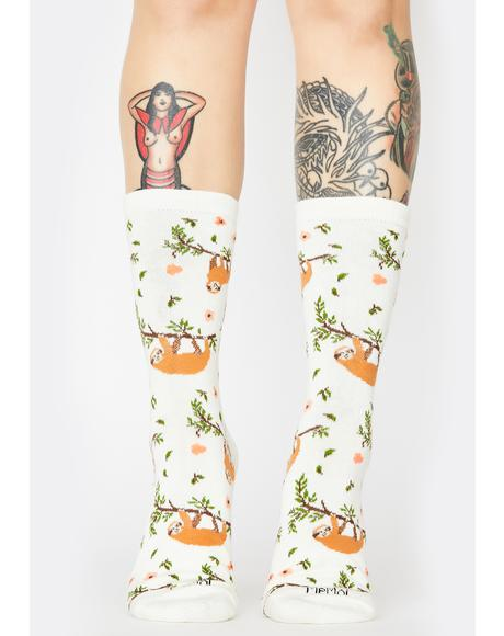 Sloth Print Crew Socks