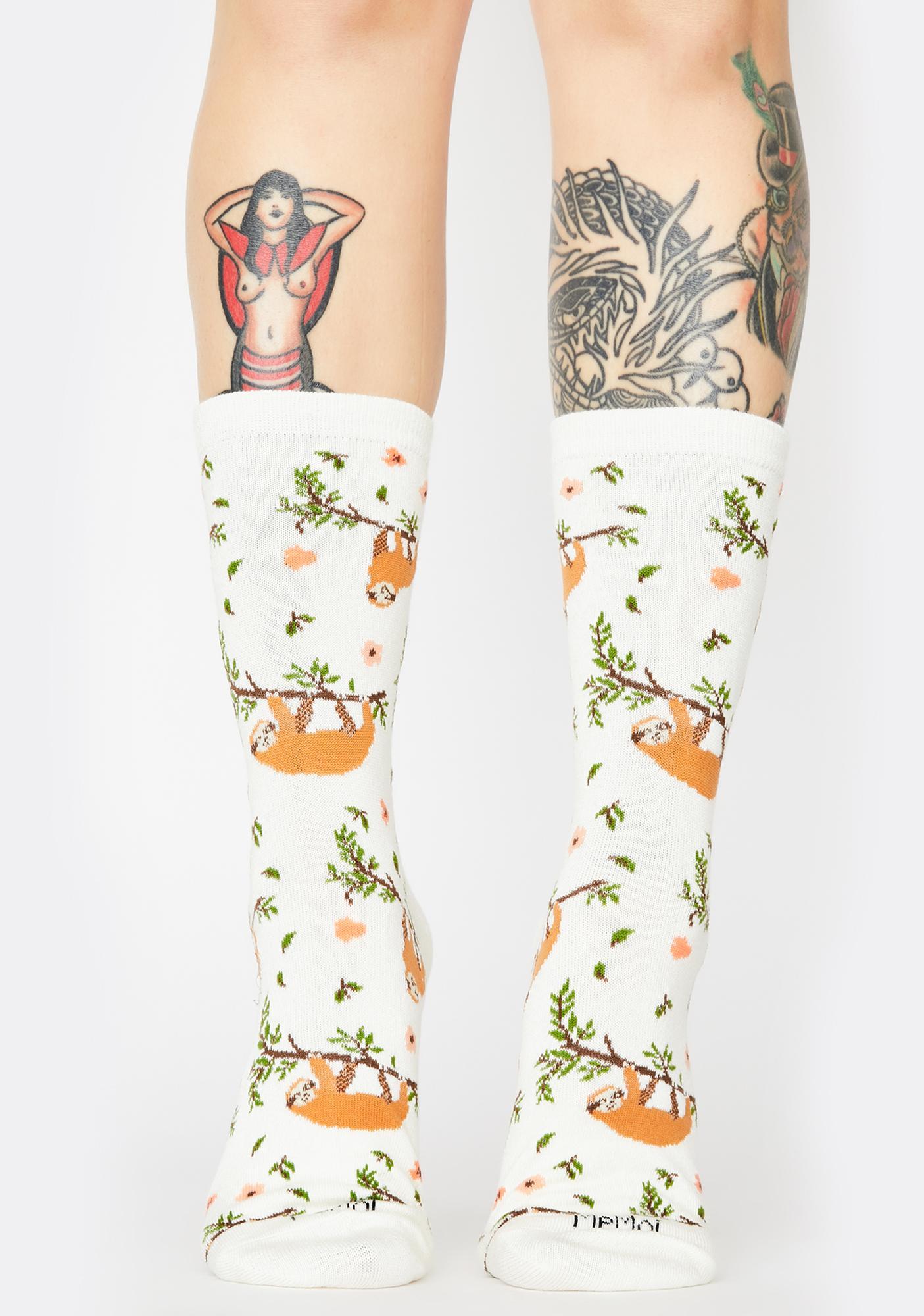 MeMoi Sloth Print Crew Socks