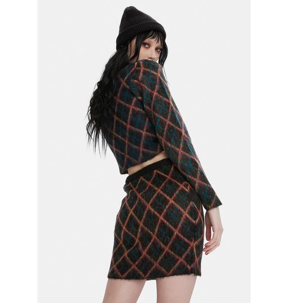 The Ragged Priest Bumps Argyle Knit Mini Skirt