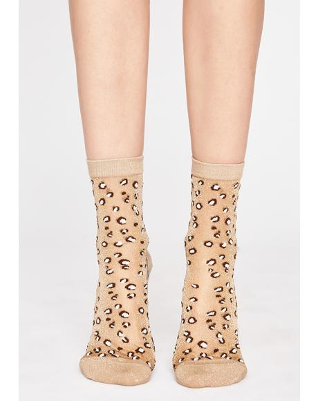 Sheer Fierceness Leopard Socks