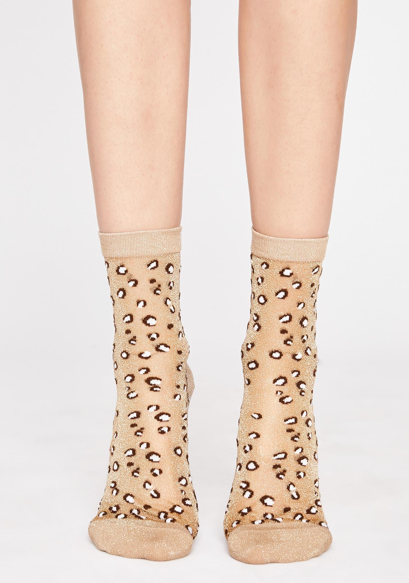 Sheer Fierceness Leopard Socks